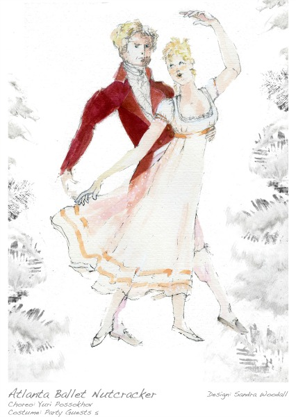 A costume rendering for Christmas Eve party guests by designer Sandra Woodall.