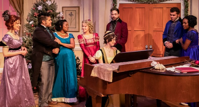 "Theatrical Outfit's ""Miss Bennet"" company (from left) Stephanie Friedman, Juan Carlos Unzueta, Jeanette Illidge, Devon Hales, Amelia Fischer, Jonathan Horne, Justin Walker, Jasmine Thomas. Photo: David Woolf"