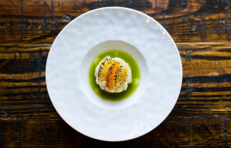 Gulf Snapper Tartare, Kholrabi, Herb Nage. Photo by Eric Sun, Courtesy of Lazy Betty.