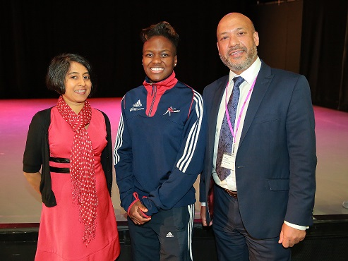 Reigning Olympic boxing champion Nicola Adams (centre), flanked by Unity chair Shruti Bhargava (left) and chief executive Ali Akbor