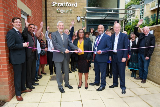 Councillor Richard Lewis (centre left), Leeds City Council's executive member for regeneration, transport and planning, cut  s the ribbon at Stratford Court assisted (from left to right) by Chapel Allerton ward councillor Eileen Taylor, Unity chief executive Ali Akbor and Leeds City Council chief executive Tom Riordan