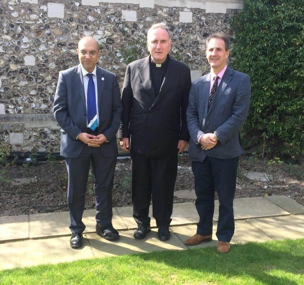 From left to right: Abdul A. Ravat (Mount Cricket Club) with Fr Eamonn O'Higgins (The Vatican and St Peter's Cricket Club) and Stephen Gray (Church of England) following a tour planning meeting at Lord's earlier this year