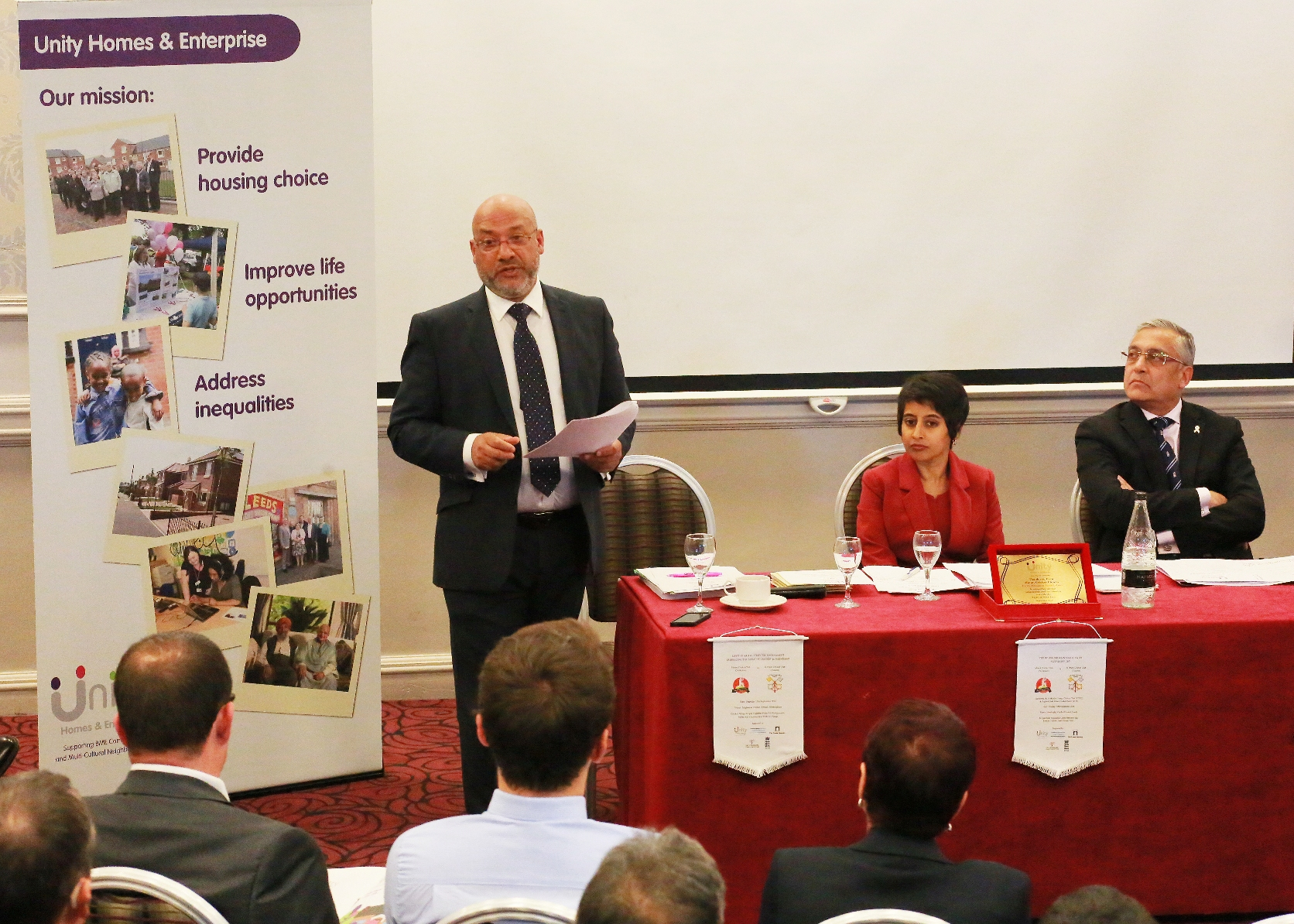 Chief executive Ali Akbor address the Unity Homes and Enterprise AGM at Headingley Cricket Ground