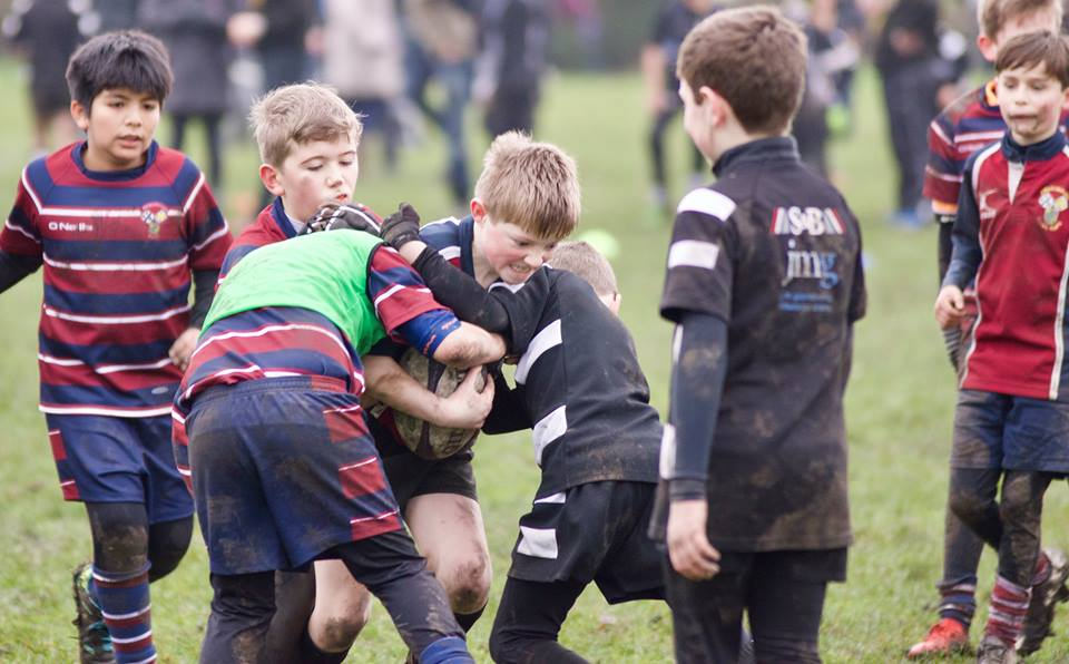 Rory Whitehead from Aireborough Under 10s taking the battle to near neighbours Otley