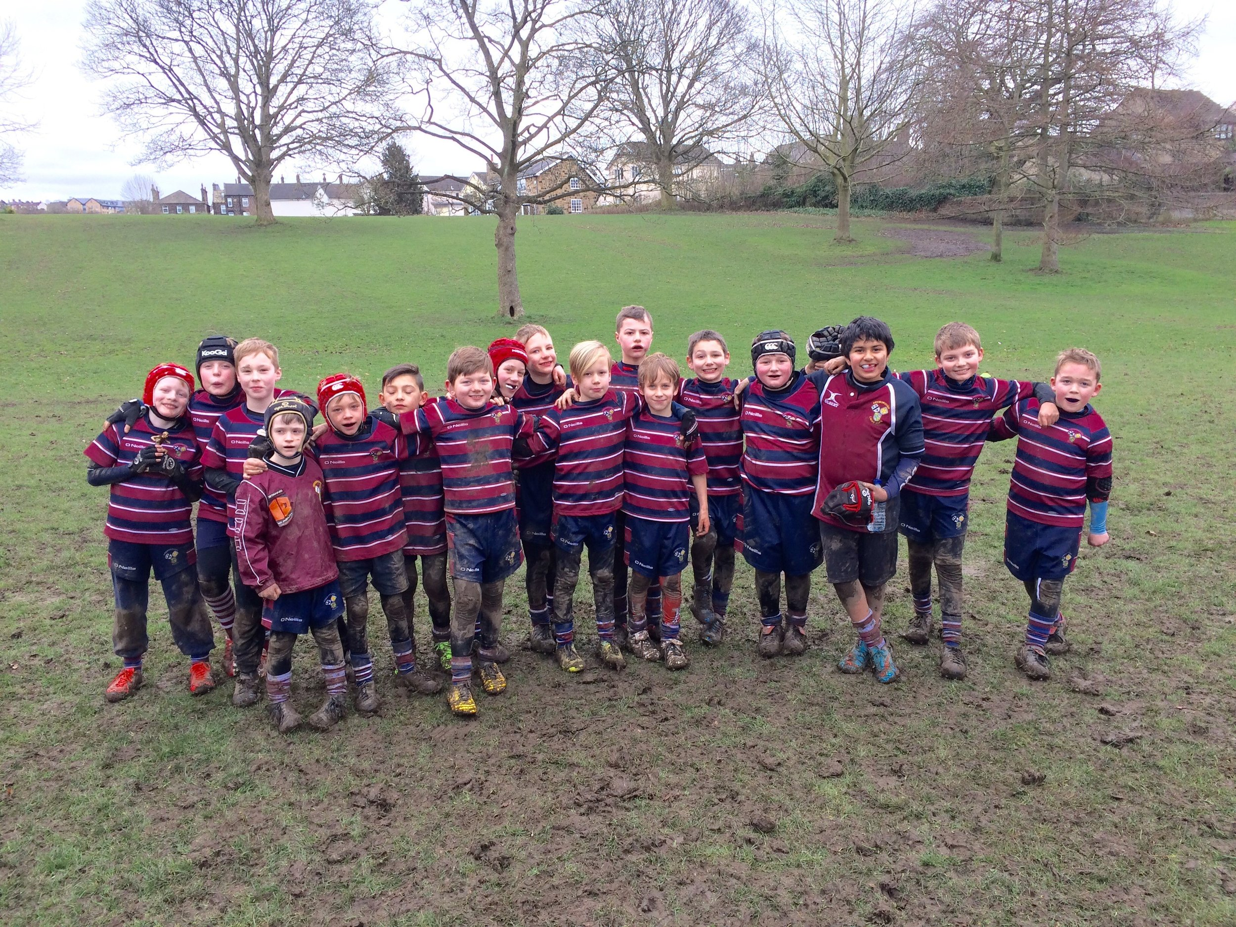Aireborough Under 9s at Nunroyd Park after last weekend's game against Keighley
