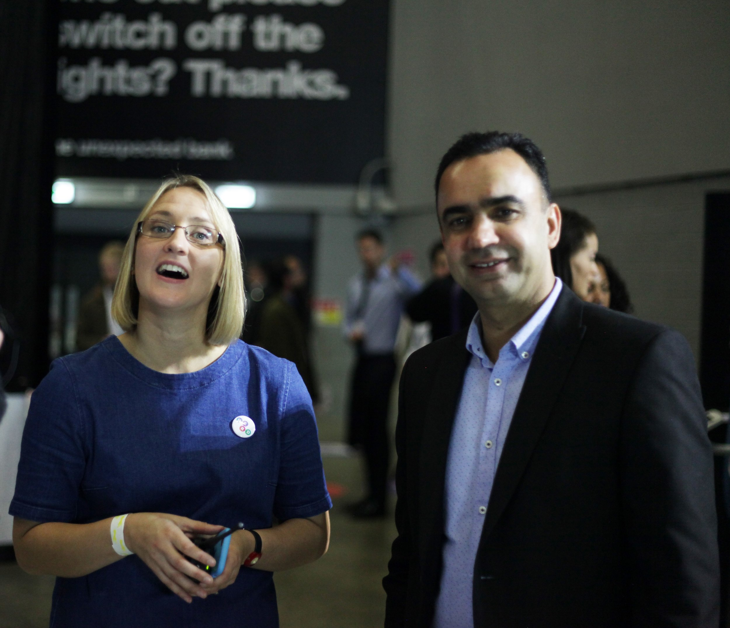 Herd's Amy De-Balsi with (right) Cllr Mohammed Rafique, executive member for employment, enterprise and opportunity, Leeds City Council at Leeds Digital Job Fair 2.0