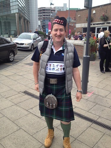 UP YER KILT: Hillfoots junior convemor David 'Paddy' Sherrard blends in with the locals during a previous visit to Leeds