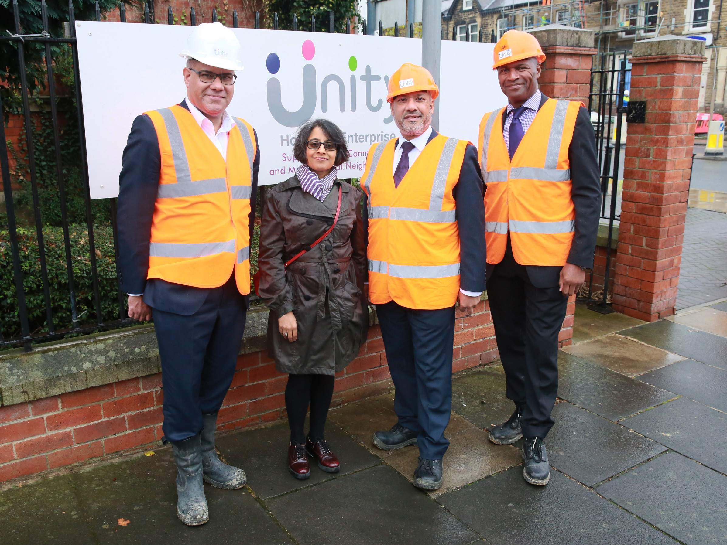 From left to right: Housing and Planning Minister Alok Sharma, Unity chair Shruti Bhargava, Unity chief executive Ali Akbor and Unity regeneration director Wayne Noteman during today's visit to the Chapeltown Road affordable homes development in Leeds