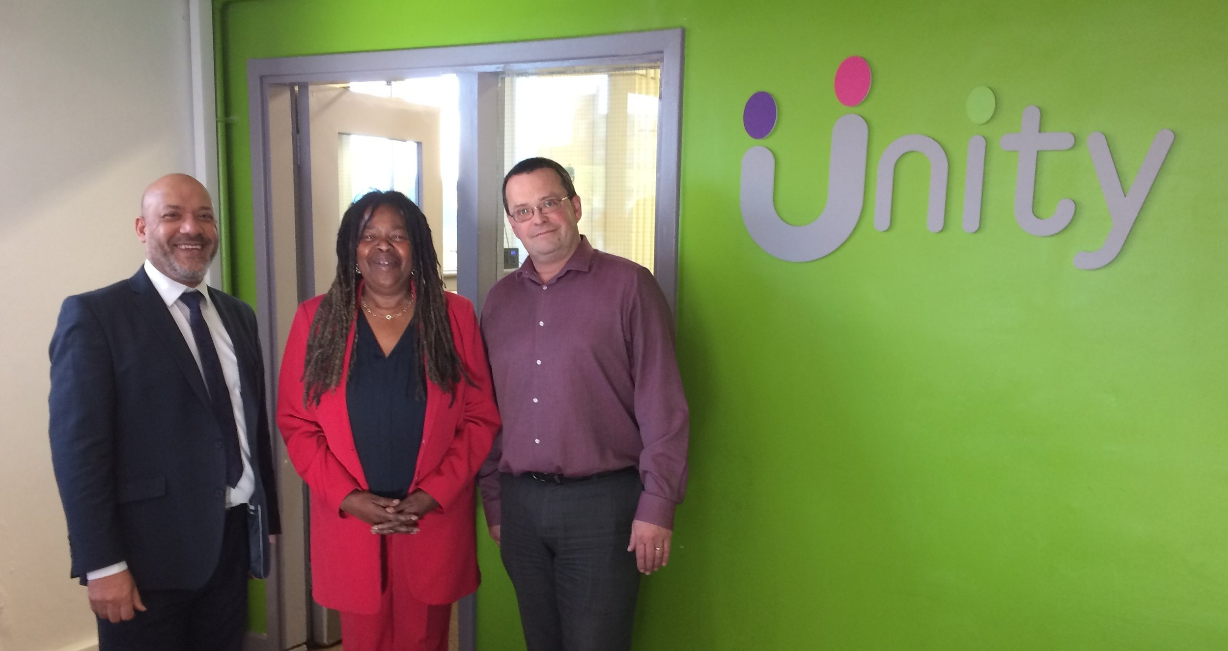 Unity Homes and Enterprise chief executive Ali Akbor (left), iota Business founder Cristine Wilson and Unity Enterprise manager Adrian Green at Unity Business Centre in Leeds