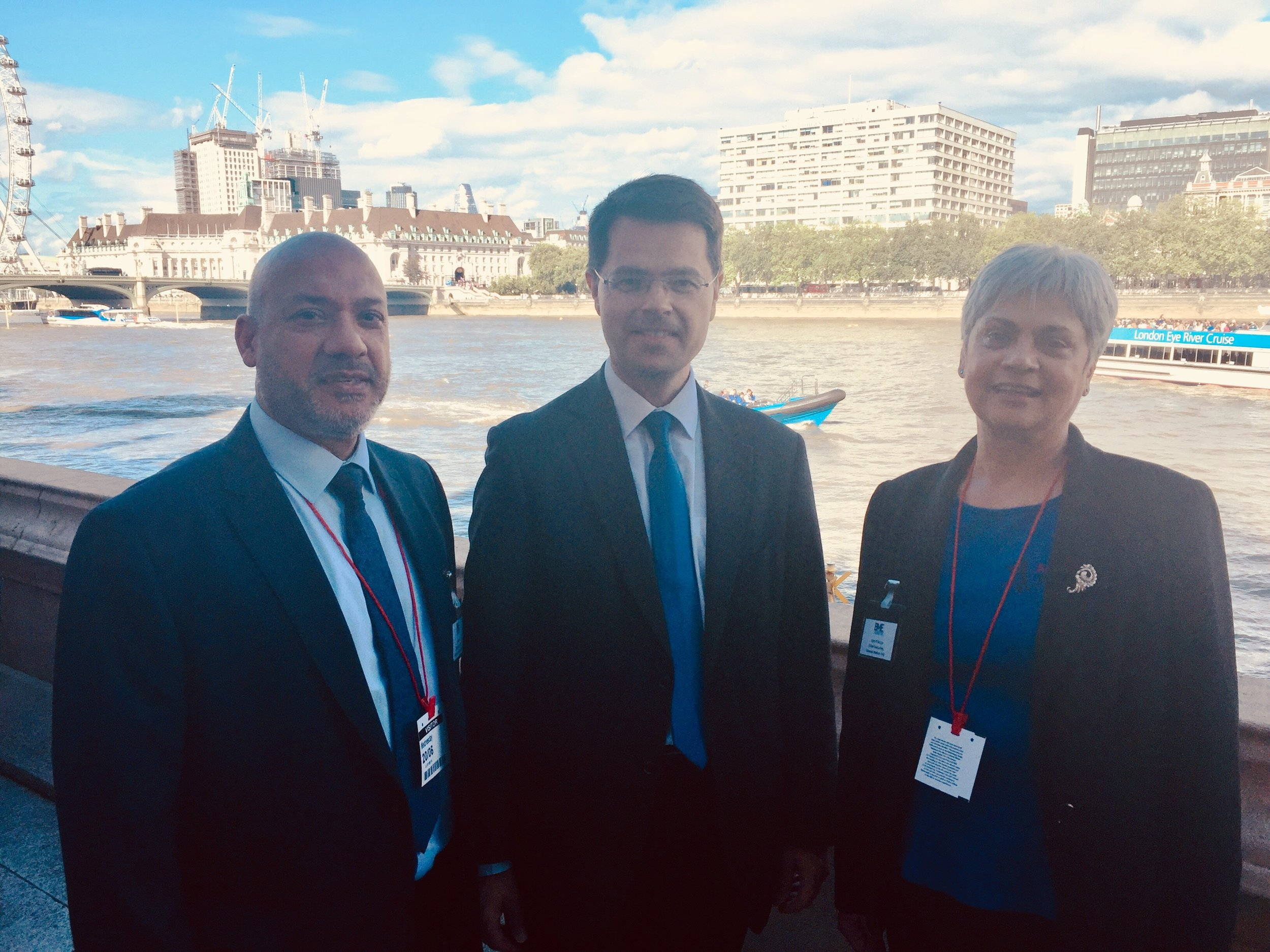 Housing Secretary James Brokenshire with Ali Akbor and Cym D'Souza from BME National
