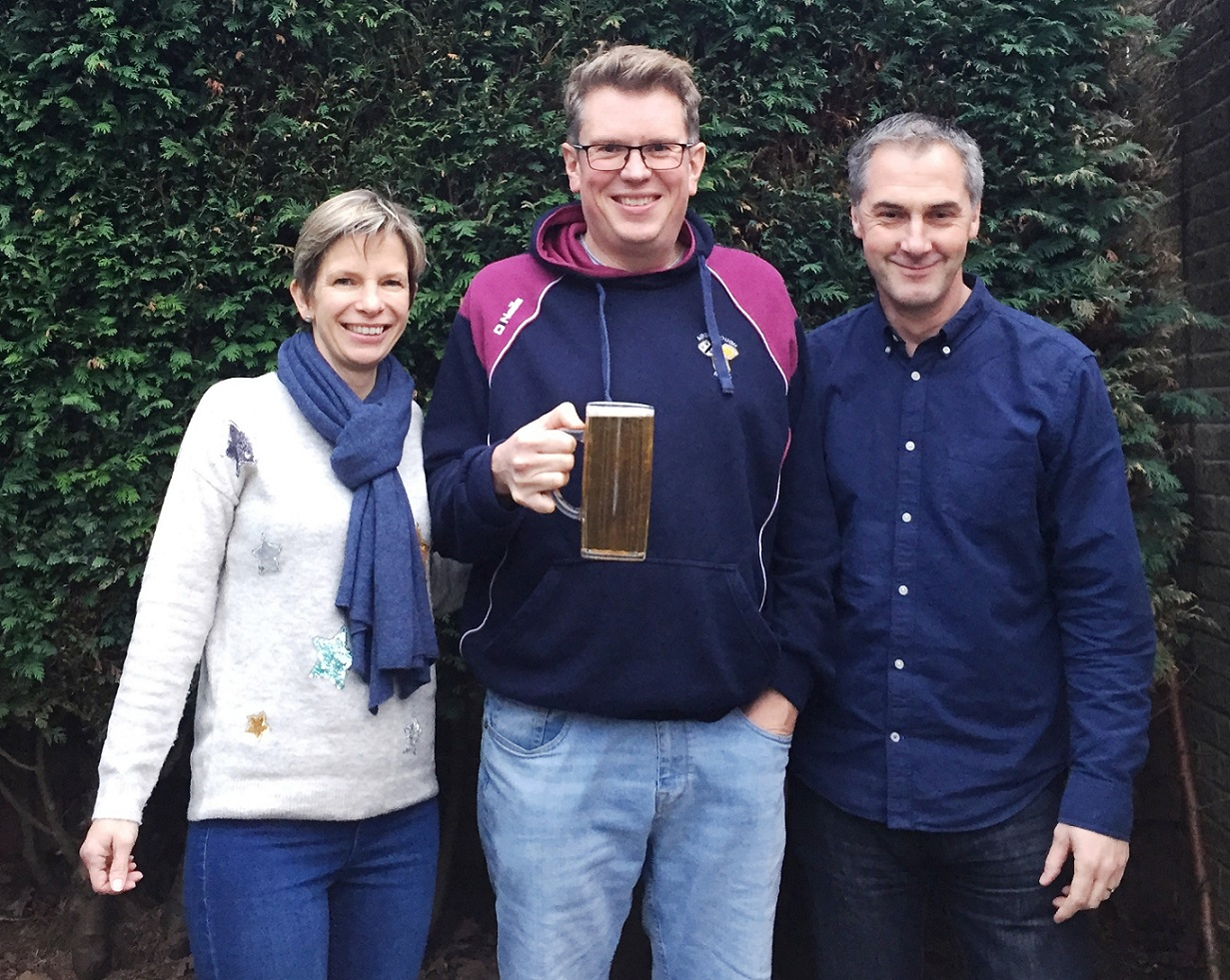 Rob Rattray (centre), organiser of the Aireborough RUFC Beer Festival, with Vanessa and Barry White of Vanbar Associates