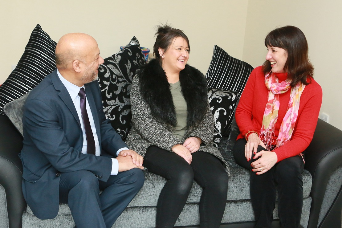 Leeds West MP Rachel Reeves (right) and Unity Chief Executive Ali Akbor with resident Rachael Donoughue in her new home