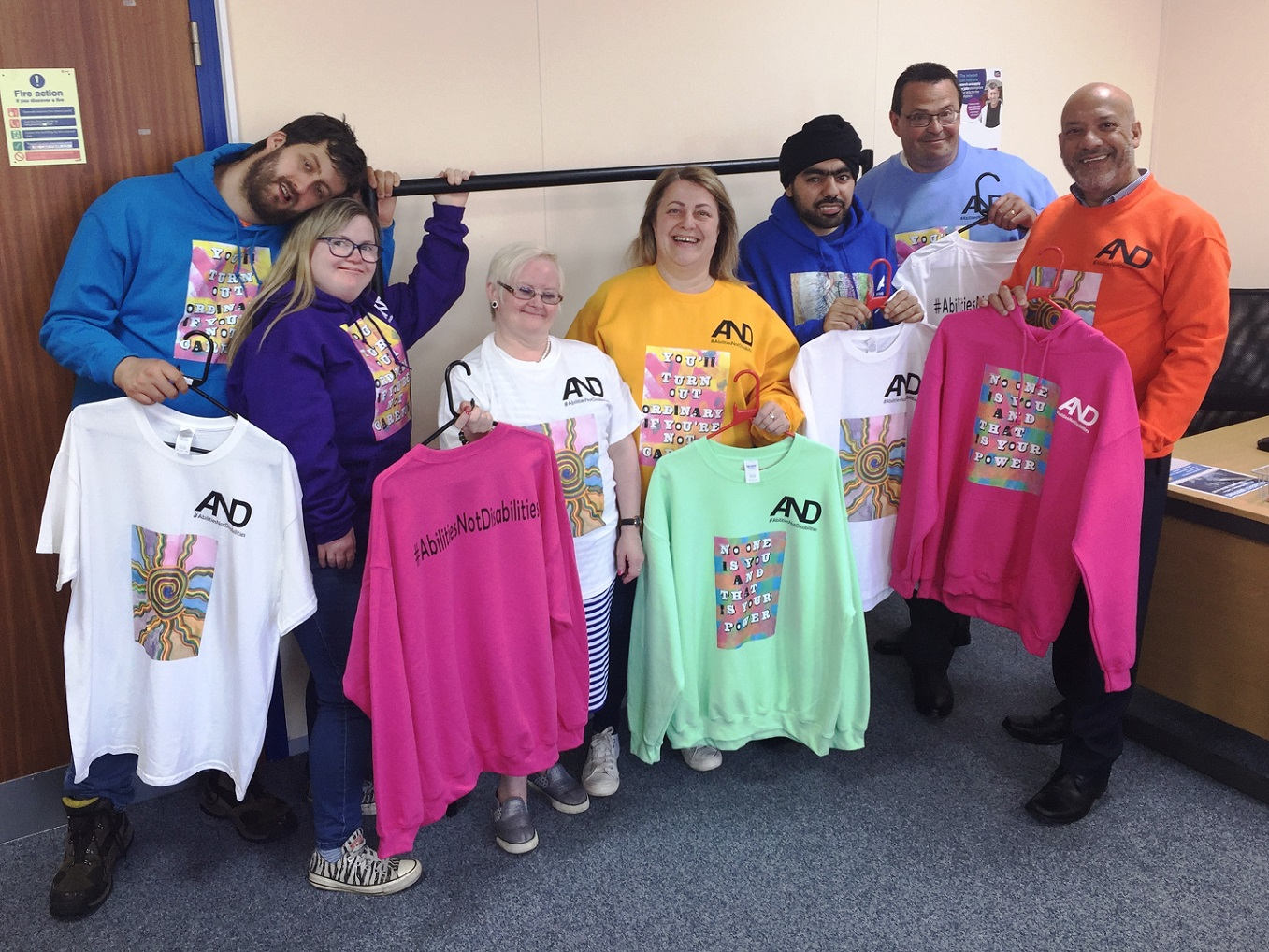 Ali Akbor (far right) and Adrian Green (second from right) with Angie Marshall from Leep 1 (centre), Susan Hanley (third from left) and other designers from the #AbilitiesNotDisabilities project