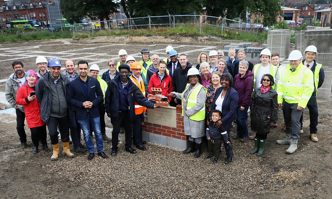 The Lord Mayor of Leeds, Cllr Eileen Taylor, lays the first stone at the Leopold Street development alongside project partners and ChaCo stakeholders