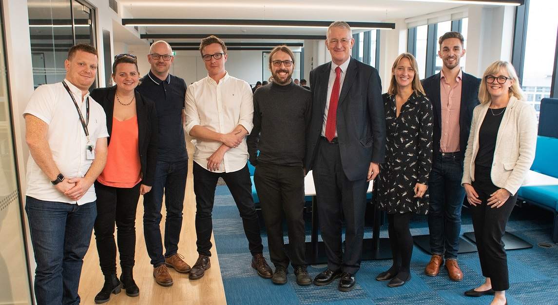 Hilary Benn MP with Jessica Bowles, Jessica has a accountDirector of Strategy at Bruntwood (far right), Amy De-Balsi, Head of Innovation & Partnerships at Bruntwood SciTech (third from right) and representatives of companies based at Platform