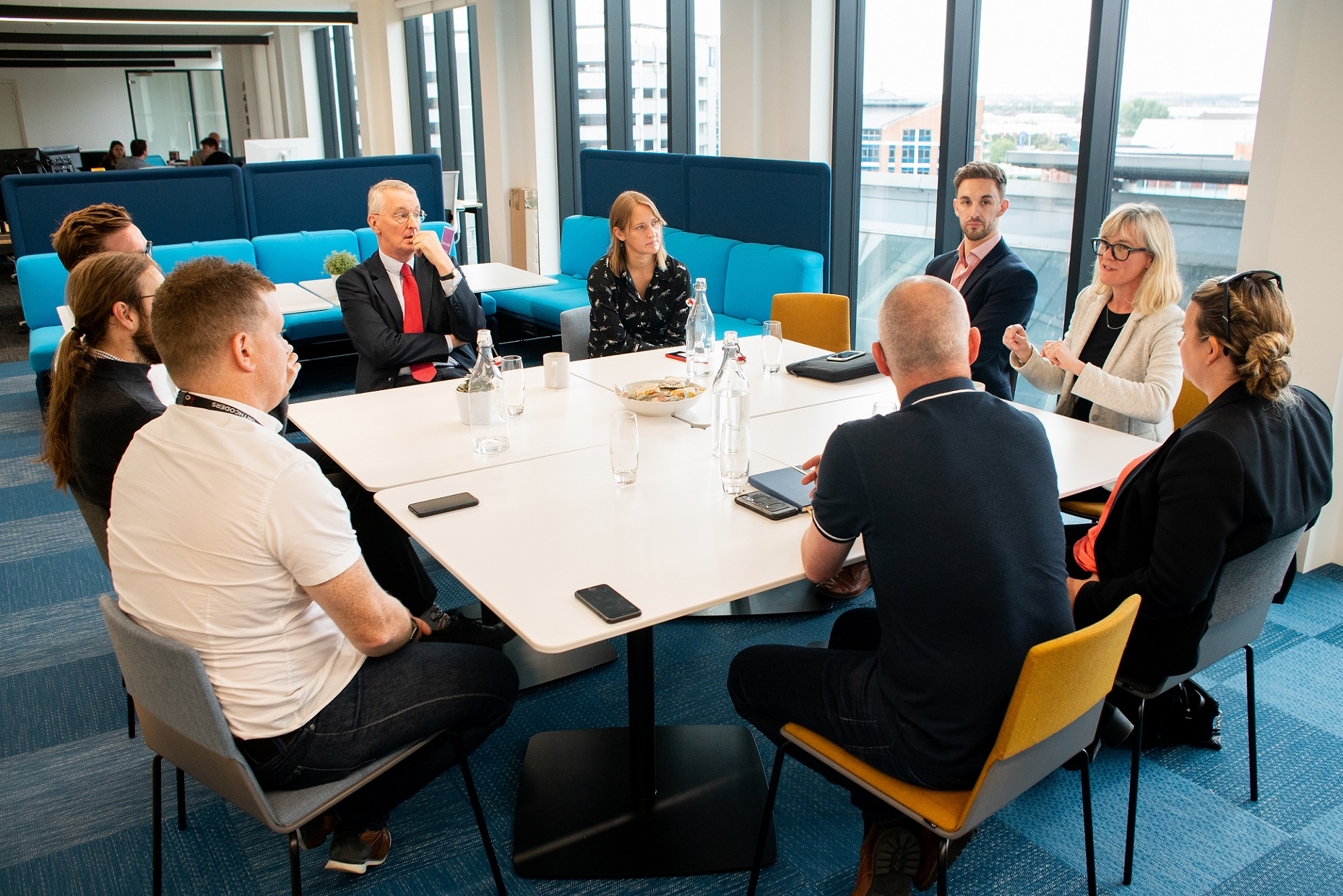 Hilary Benn MP participates in a roundtable discussion during his visit to Platform