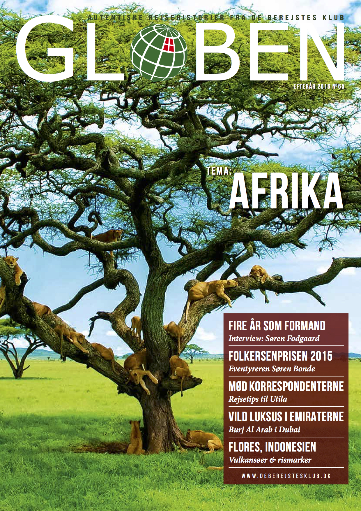 Issue 65: Afrika   The issue is about Africa and other stories, including a luxury stay in Dubai, volcano island of Flores in Indonesia. Link is not yet available.