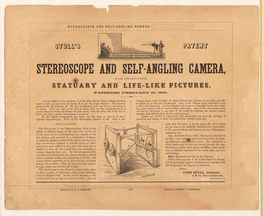 Stull's patent stereoscope and self-angling camera.  Library of Congress LC-DIG-PGA-06070