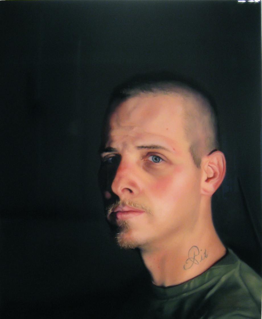 """""""Contractors (Leo)"""" (2009)  Oil and resin on canvas over panel  24 x 18 in"""