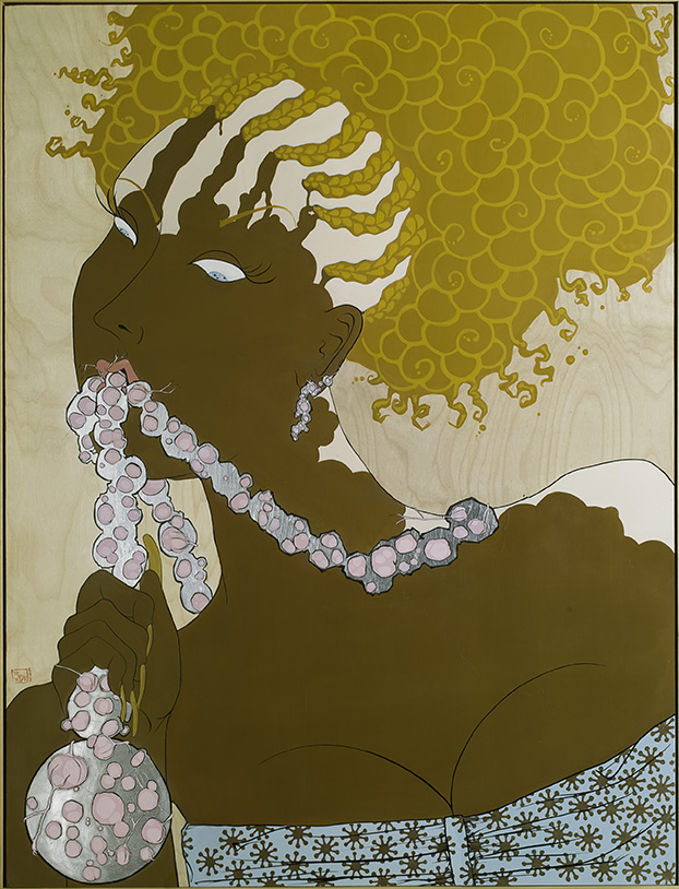 """Painful, the appearance of a dime in the cling (after Yoshitoshi's painful, the appearance of a prostitute of the Kansei era)""(2006)  Acrylic, gold and silver leaf on panel  50 x 38 in"