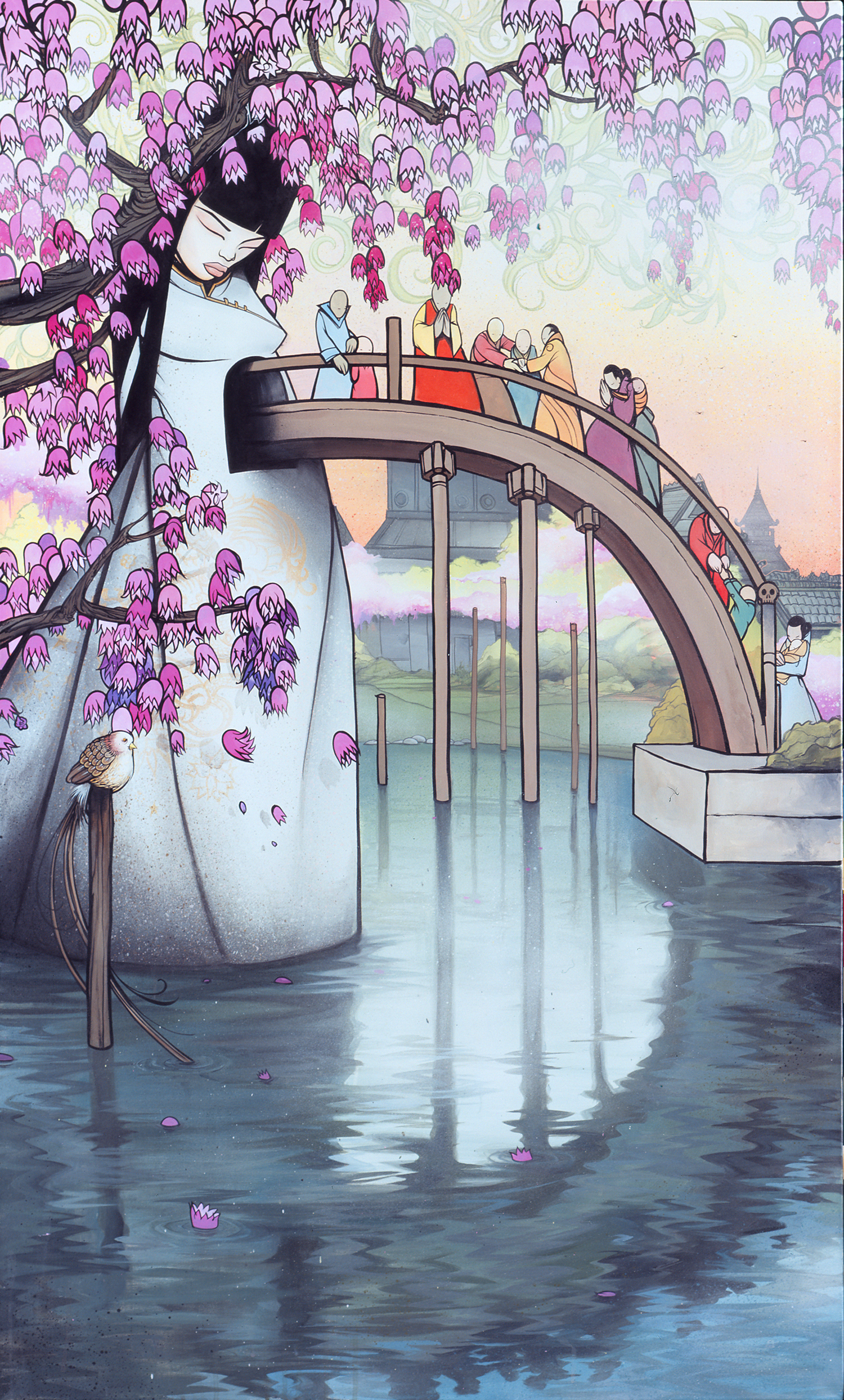 """Water Under the Bridge"" (2006)  Acrylic on canvas  60 x 36 in"