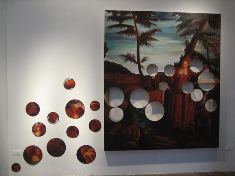 """""""Finding Moses"""" (2006)  Oil on canvas  7 x 6-12 ft, dimensions variable. Canvas is 6 ft wide."""