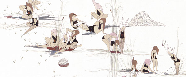 """Bunny Collective""  (2005)  Grouche, ink, thread on paper  60 x 44 in"