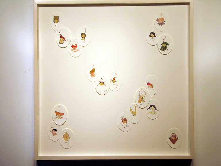 """Offerings 1""  (2006)  Grouche, ink, thread on paper  30 x 30 in"