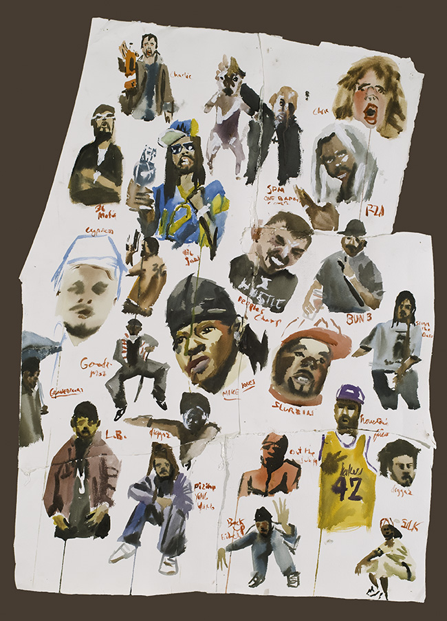 """""""Rappers"""" (2008)  Ink and watercolor on paper with tape  36 x 24 in"""