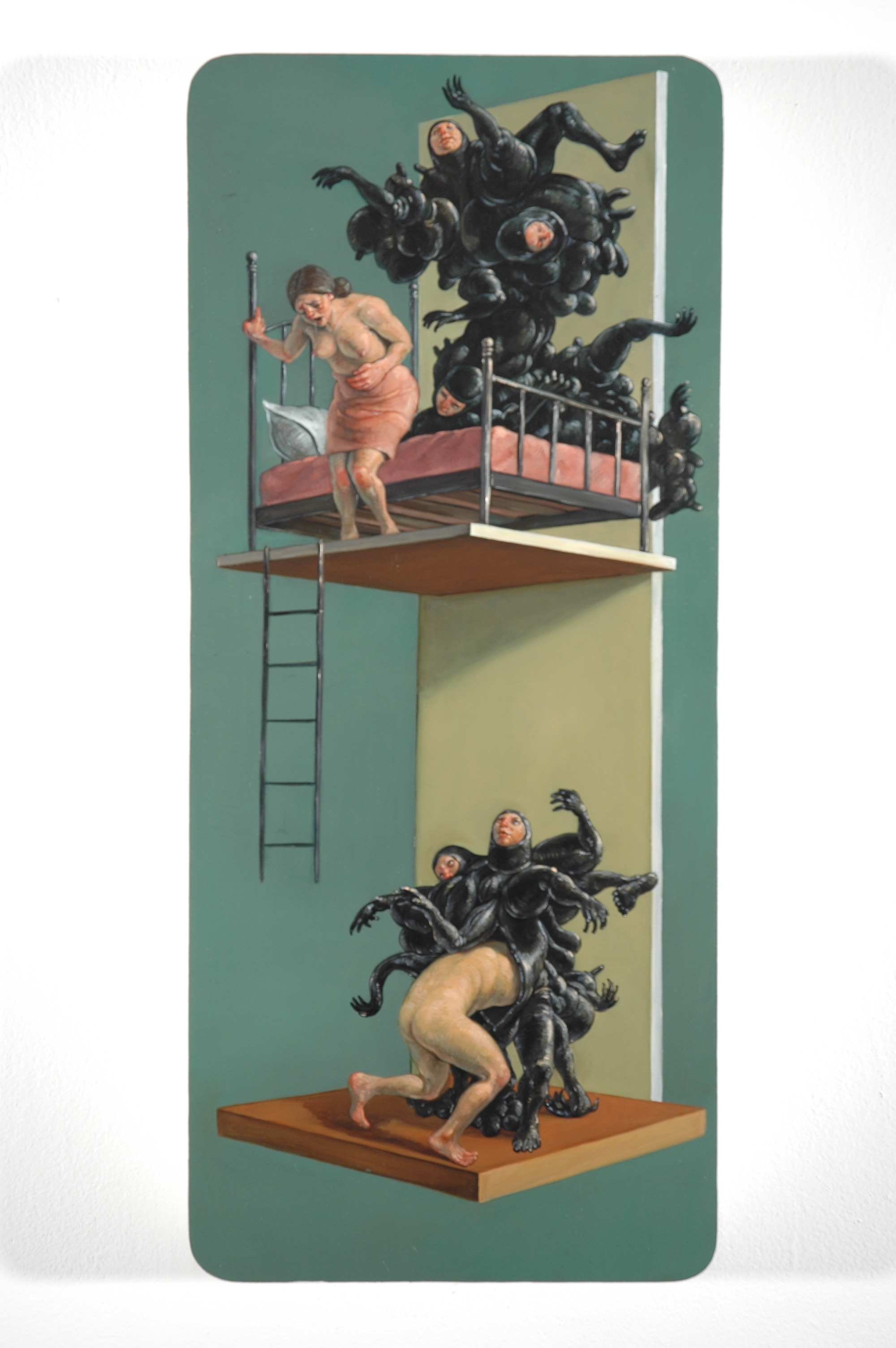 """Distaste"" (2004)  Oil glaze on panel  23 x 10 x 2 in"