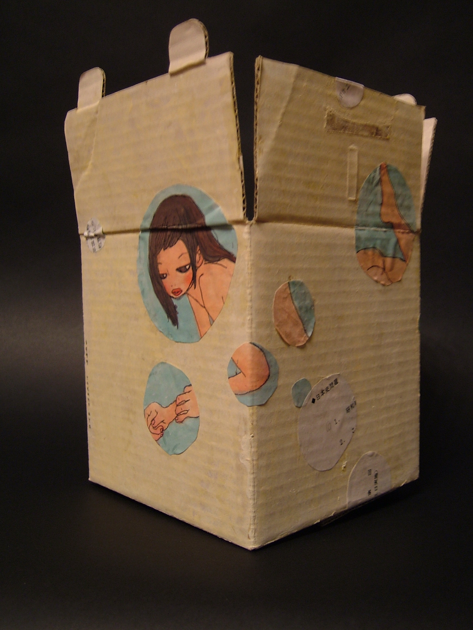 """""""Naked Box"""" (1997)  Painting/ Collage on cardboard  8.7 x 6.2 x 5.7 in"""