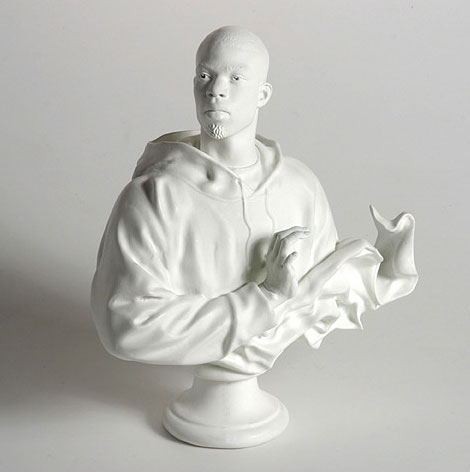 """""""Louis XVI, the Sun King"""" (2006)  Cast resin and marble dust  10 x 9.5 x 3 in"""