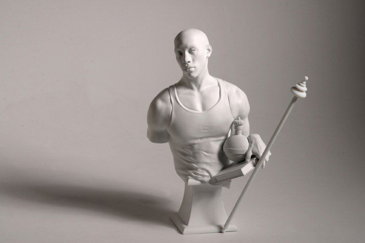 """""""St. Francis of Adelaide"""" (2006)  Cast resin and marble dust  12 x 10 x 5.5 in"""