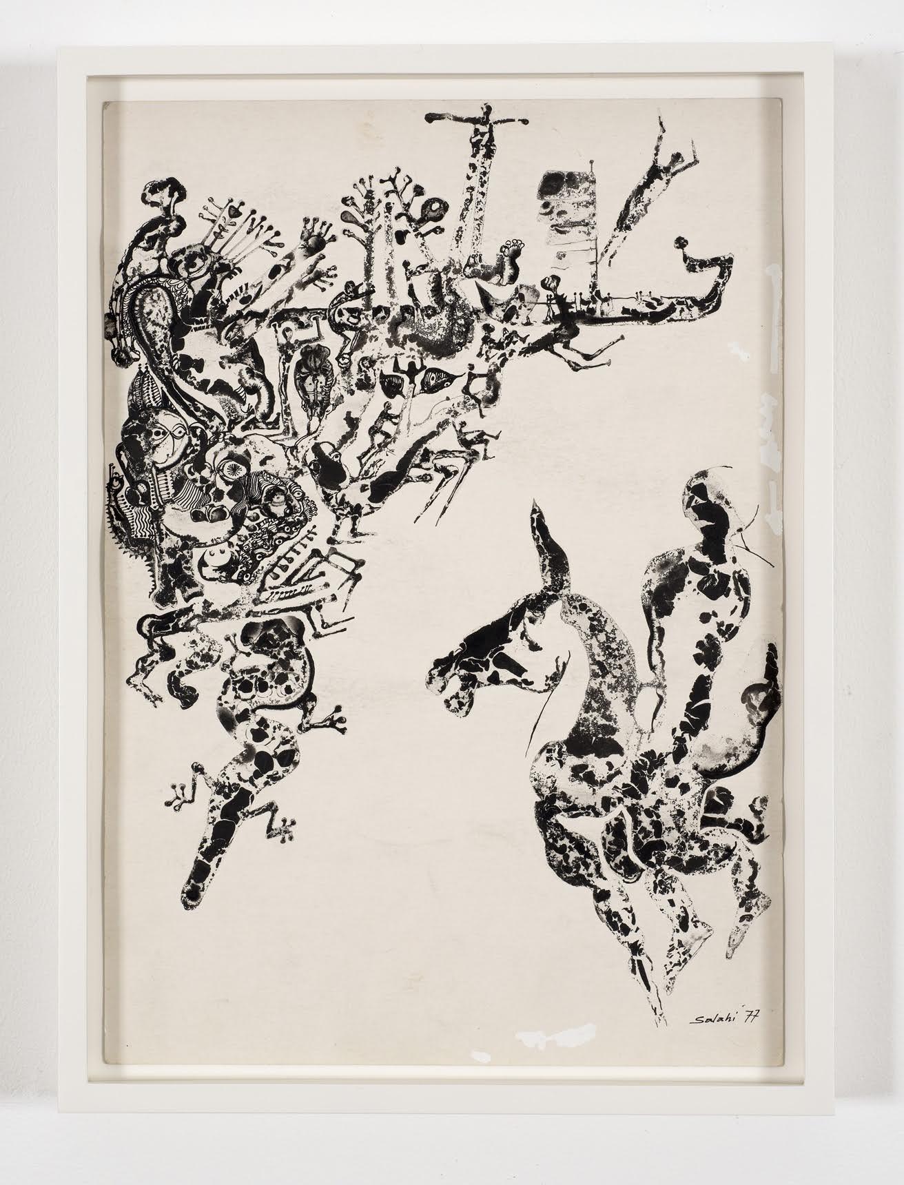 """Illustration no. 8 for Tayeb Salih's novel Maryoud"" (1977)  Ink on paper  13 5/8 x 9 1/2 in"