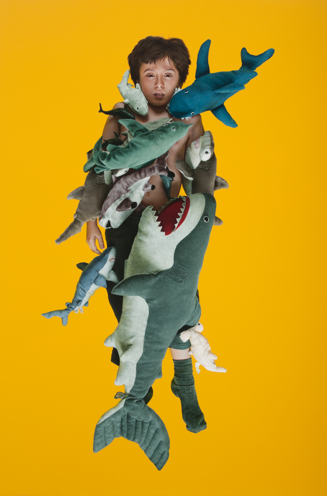 """""""Boy Under Sharks"""" (2014)  Oil and acrylic on panel  72 x 48 in"""