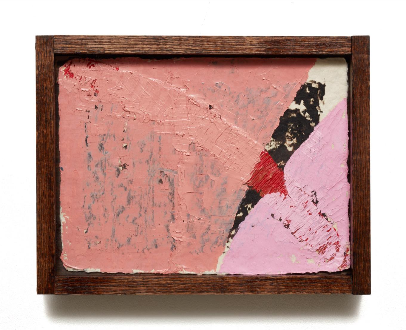 """""""1963-1412"""" (2018)  Oil on burlap paper in custom frame  11 x 14 in"""
