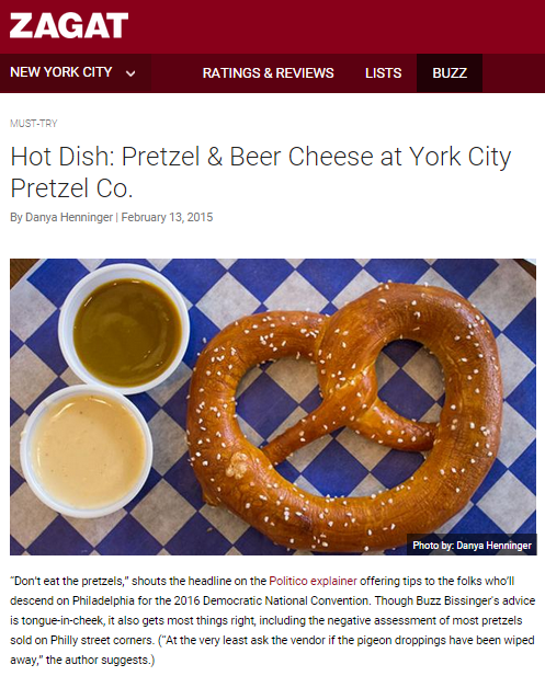 York City Pretzel Company in Zagat