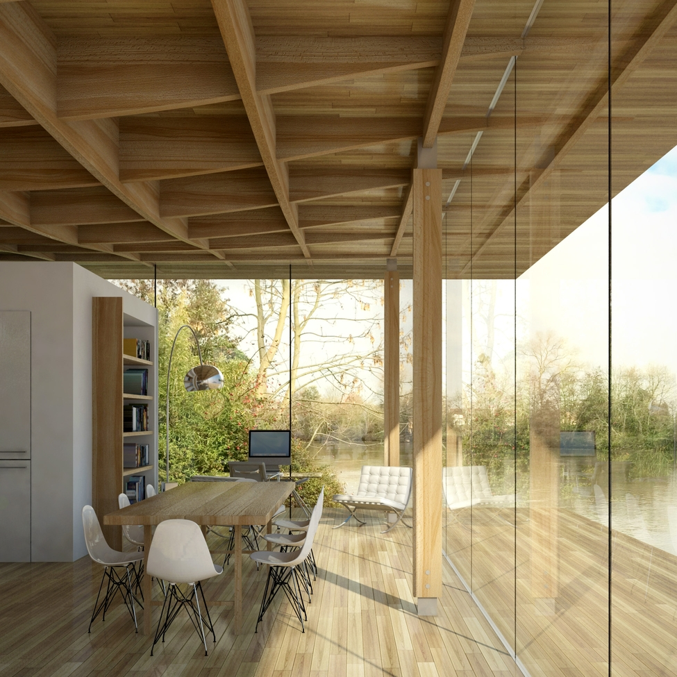 Modern Contemporary Architect House River Thames Kingston Surrey London, Island, flood risk, Ribbed timber ceiling