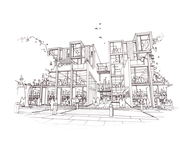 Modern Contemporary Fletcher Crane Architect Housing Residential Whitehaven Cumbria Sketch View