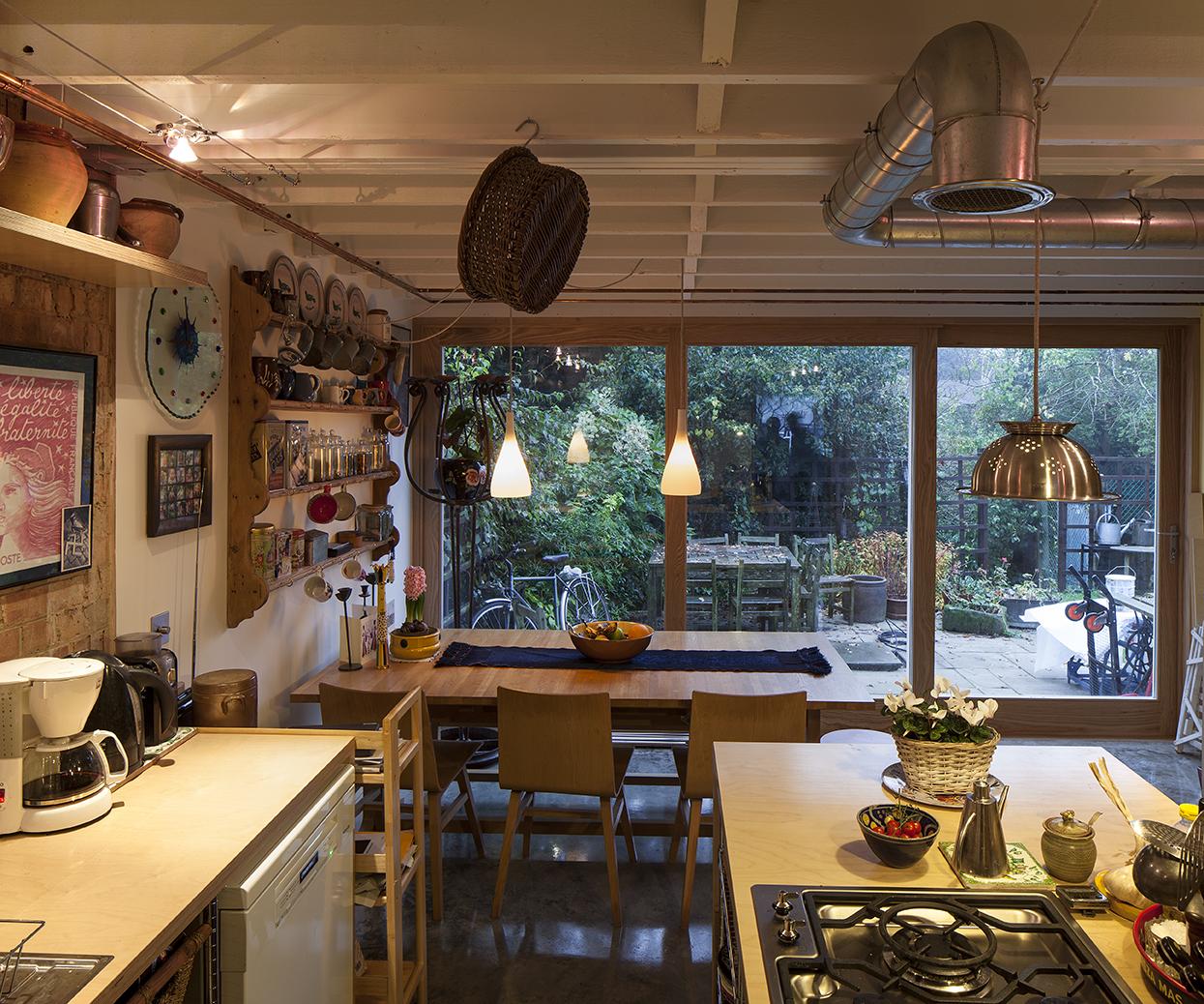 Modern Contemporary Fletcher Crane Architect House Extension Teddington Surrey Industrial extractor Plywood exposed joists