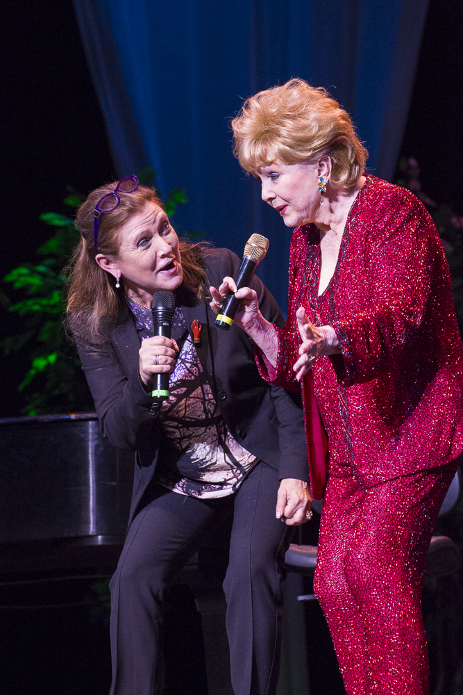 Carrie Fisher surprised her mother, Debbie Reynolds, and here they perform a duet. This may have been the last time they performed together. (C) 2014, Miachelle DePiano.