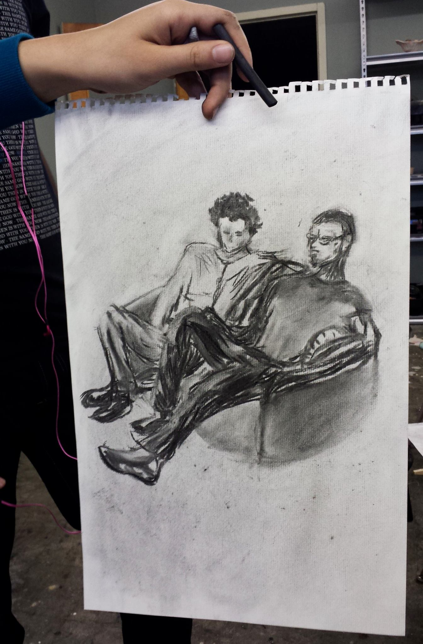 30 minute sketch with vine charcoal by Nada Aziz