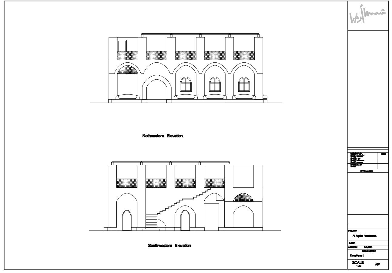 Northwestern Elevation and Southwestern Elevation of Palestinian architect Danna Masad's plan