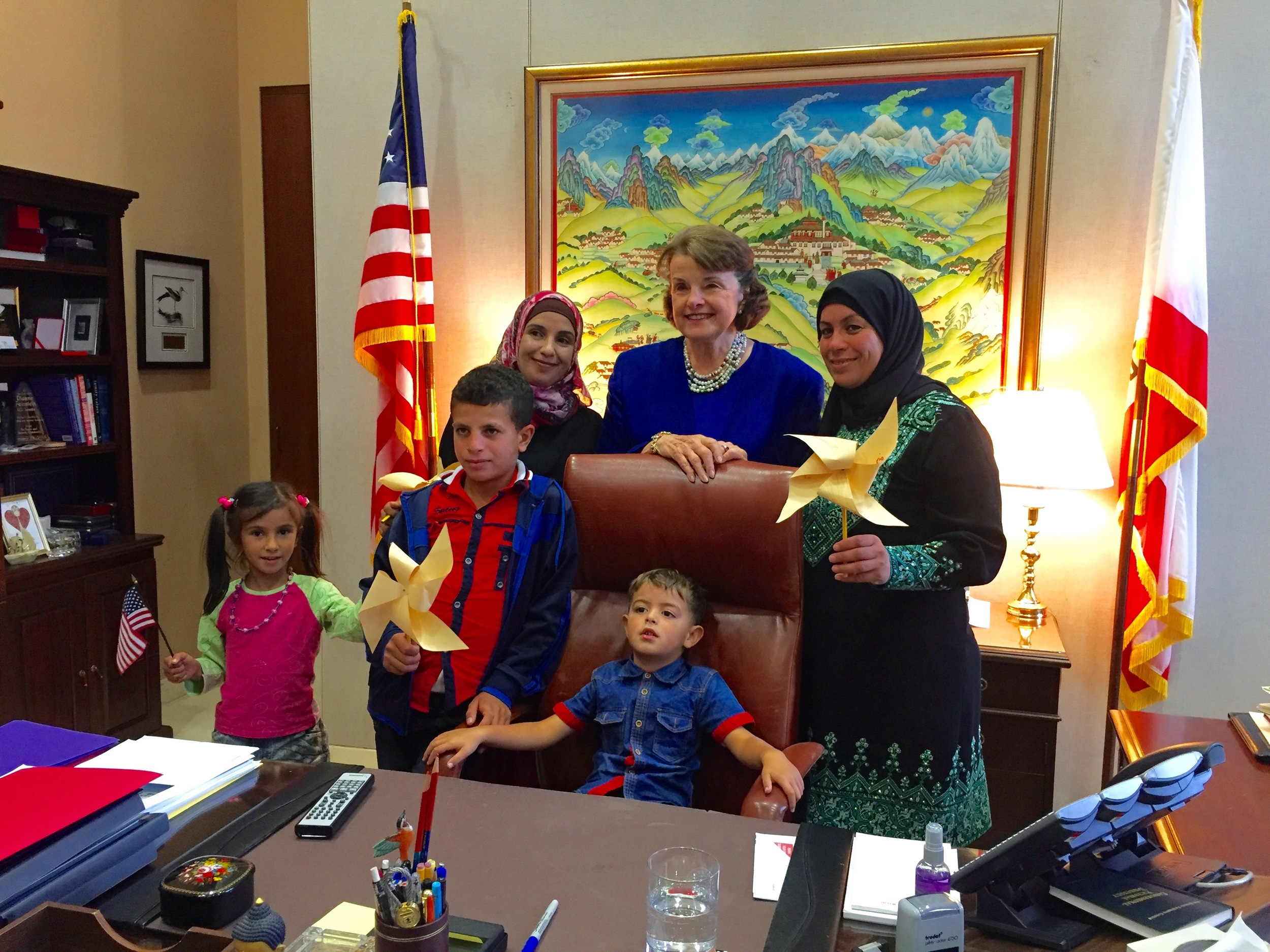 Senator Dianne Feinstein with families from Umm al-Kheir and Susiya in September 2015.