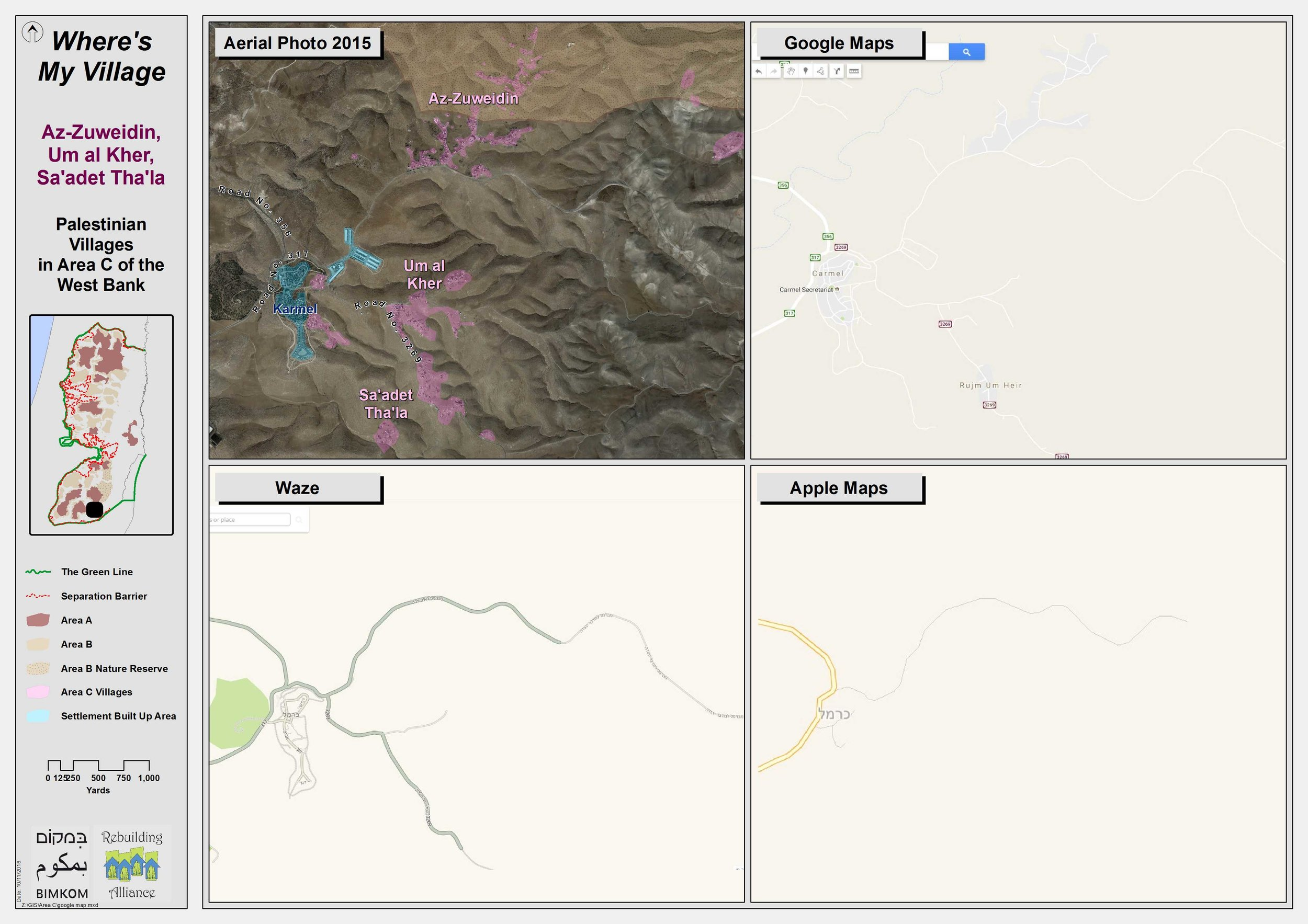 Above is satellite image with Palestinian villages in pink, and Israeli settlements in blue showing the area around the Palestinian village of Umm Al Kheir in the South Hebron Hills. Shown as well are the map images on Google, Apple and Waze.