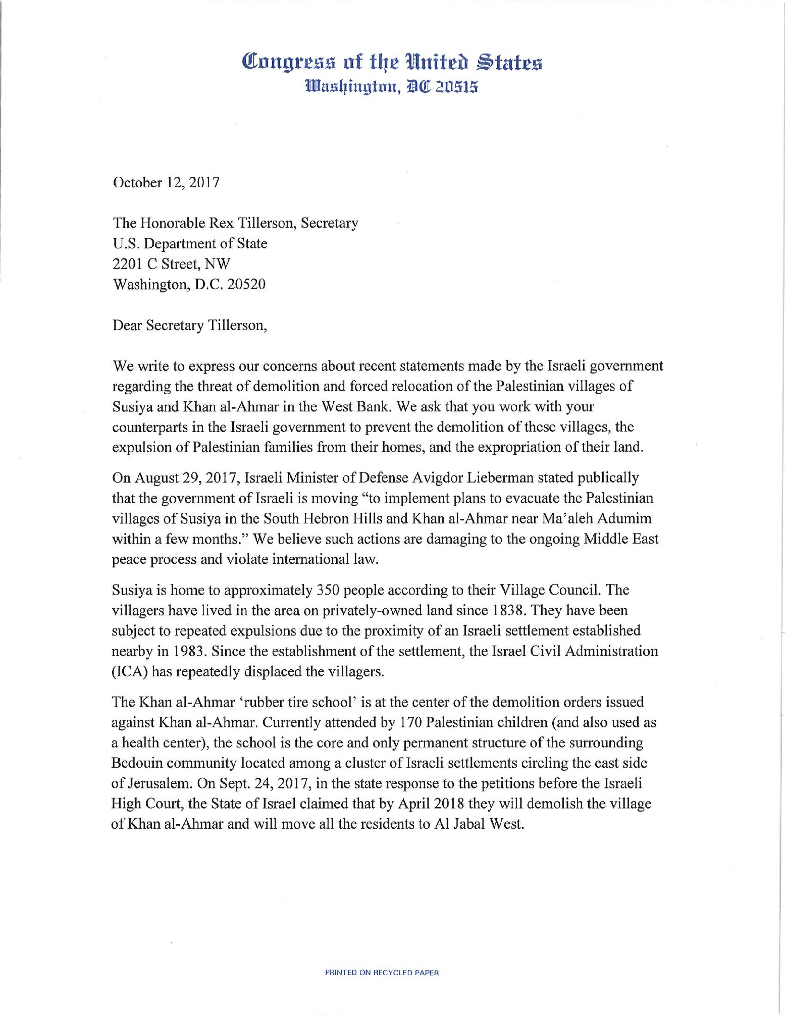 Letter to Secretary Tillerson on Susiya and Khan al Ahmar 10.12.17.jpg