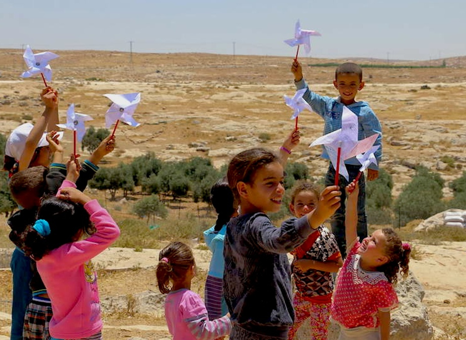 The children of Susiya first started making their Pinwheels for Peace in 2015