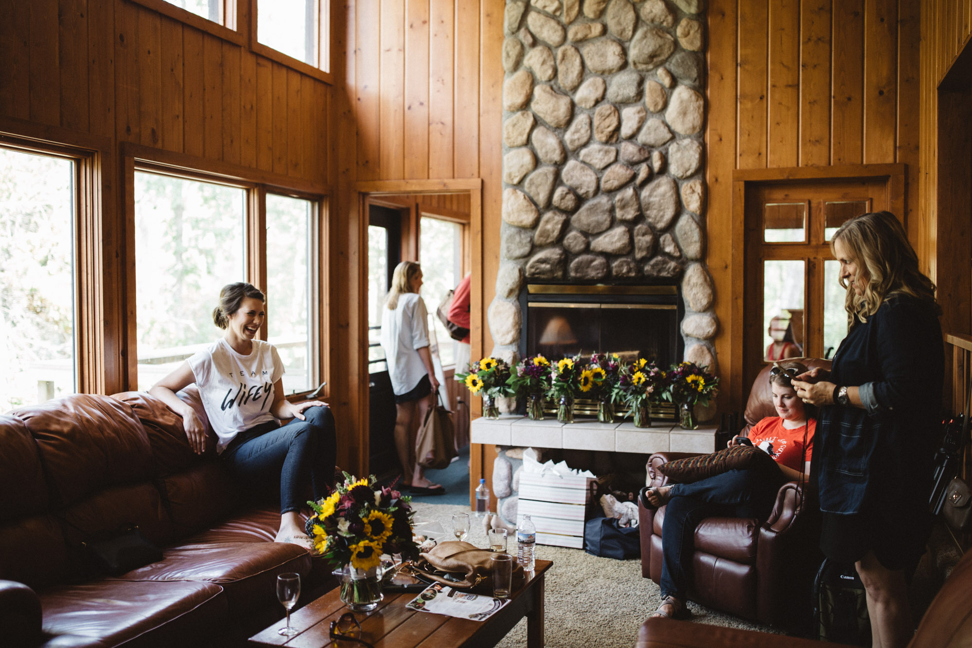Up north Grand View Lodge cabin wedding on Gull Lake, candid wedding photography