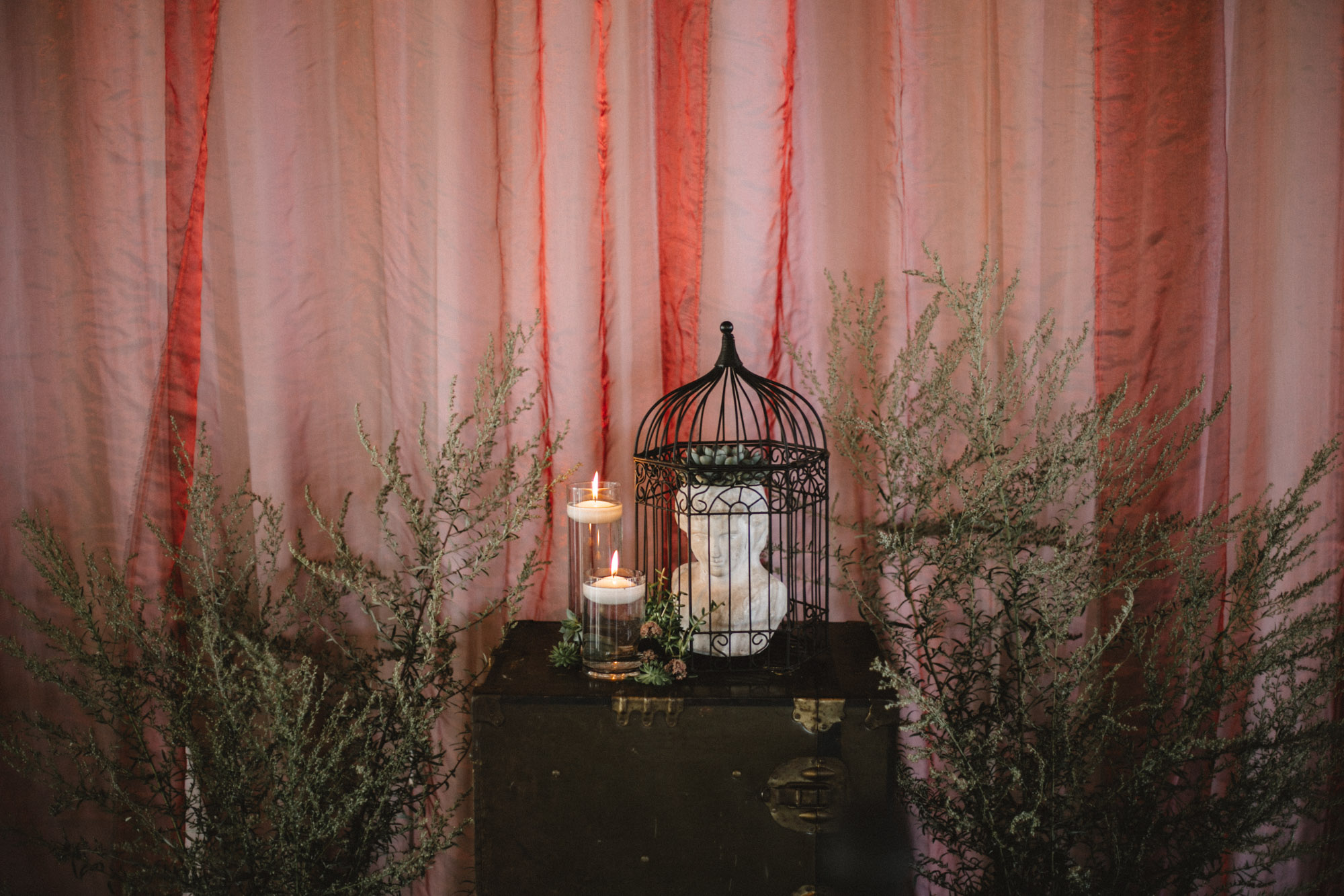 Eclectic wedding ceremony decor. Photography by Britt DeZeeuw, NP Event Space photographer.