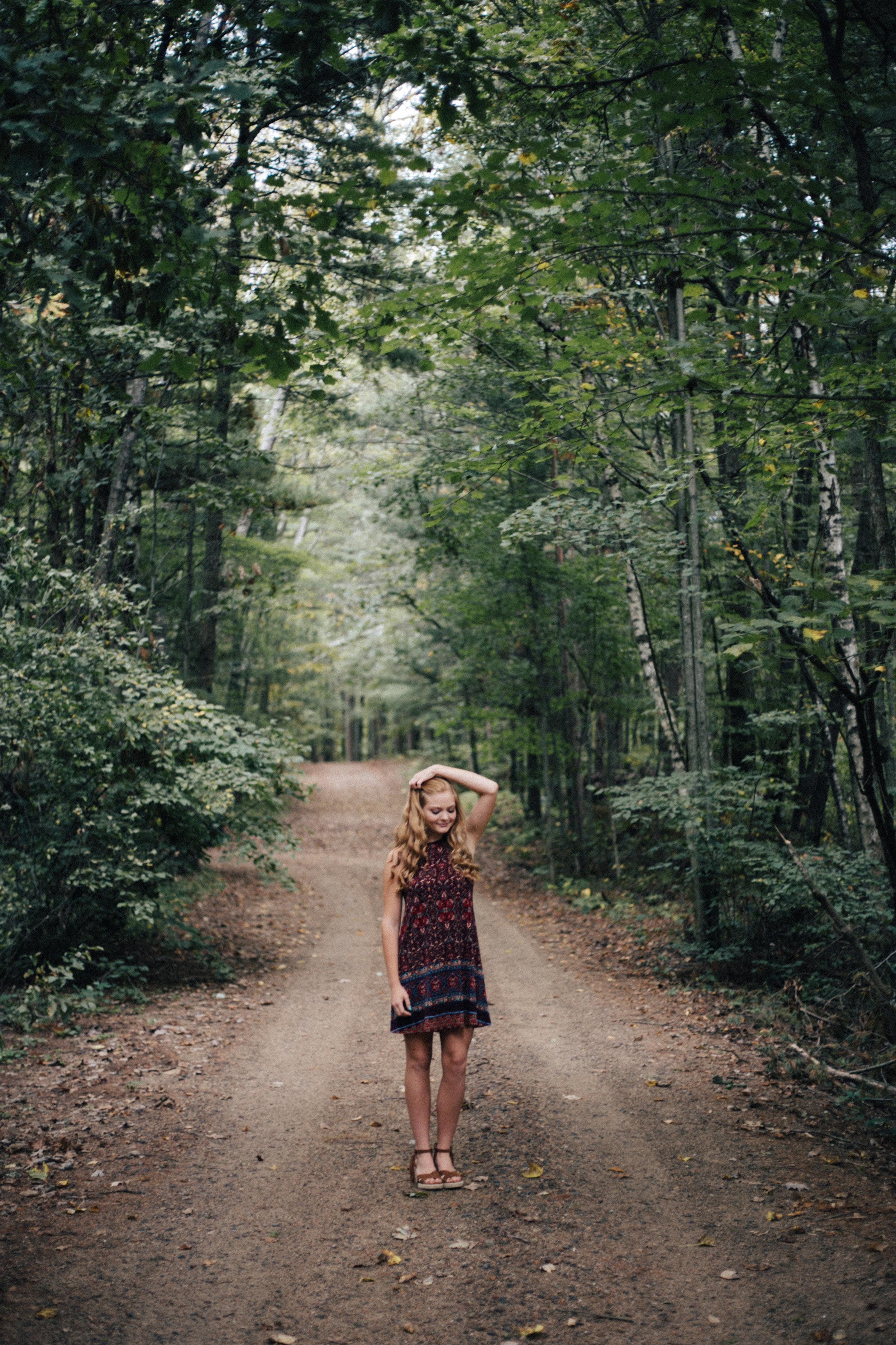 Summer senior portrait session in the woods by Britt DeZeeuw, Brainerd Minnesota fine art photographer